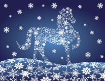 2014 Chinese Horse with Snowflakes Night Winter Sc. 2014 Chinese Lunar New Year of the Horse Forward Pose Silhouette with Snowflakes Pattern on Night Winter Snow Stock Illustration