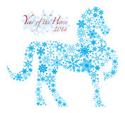 2014 Chinese Horse with Snowflakes Pattern Illusrt. 2014 Chinese Lunar New Year of the Horse Forward Pose Silhouette with Snowflakes Pattern Isolated on White Royalty Free Illustration