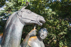 Chinese horseman statue in West lake park Stock Photos