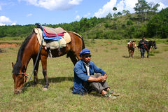 Chinese horsemen. In the Yunnan province, China Royalty Free Stock Photo