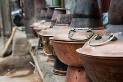 Chinese hot pot containers outside a Beijing restaurant Royalty Free Stock Photo