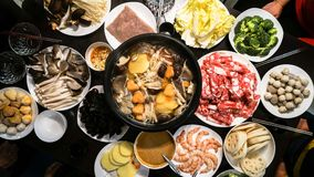 Chinese Hot Pot. Reunion dinner at Chinese New Year's Eve stock photo