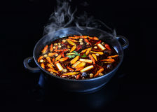 Chinese HotPot very spicy hot bowl soup Stock Photo