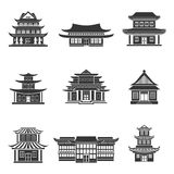 Chinese house icons black. Chinese house ancient temples traditional oriental buildings black icons set isolated vector illustration Royalty Free Stock Images