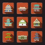 Chinese house icons tile. Chinese house traditional wooden oriental buildings icons set with tile background isolated vector illustration Stock Photo