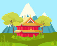 Chinese House in Mountains. Landscape Illustration Royalty Free Stock Image