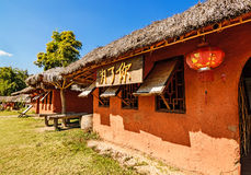 Chinese houses made of clay in hill at Santichon village , Pai c Stock Photo