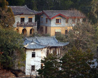 Chinese Houses in the Woods Royalty Free Stock Photos