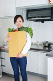Chinese housewives and vegetables Stock Photo