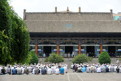 Chinese hui people worship. In Xining ,Qinghai,China.the Hui are the most populous of China's Muslim peoples royalty free stock images
