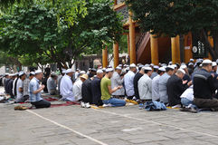 Chinese hui people worship. In Xining ,Qinghai,China.the Hui are the most populous of China's Muslim peoples stock photography