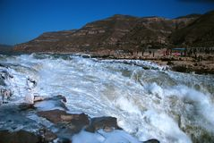 Chinese Hukou Waterfall freezing in winter Royalty Free Stock Photos