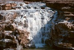 Chinese Hukou Waterfall freezing in winter Royalty Free Stock Images