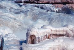 Chinese Hukou Waterfall freezing in winter. Hukou Waterfall on the Yellow River is the only yellow Great Falls, is China's second largest waterfall, known as Stock Photo
