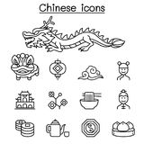 Chinese icon set in thin line style Stock Image