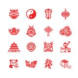 Chinese icons | MICRO series. Traditional Chinese culture symbols and objects icon-set stock illustration
