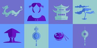 The chinese icons set Stock Images