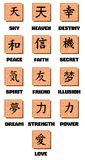 Chinese ideograms on abstract background Stock Photos