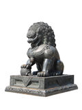 Chinese Imperial Lion Statue. Isolated on white background with clipping path Stock Image