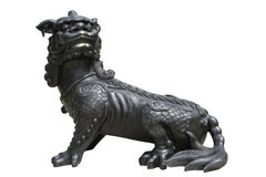 Chinese Imperial Lion Statue on white background. Royalty Free Stock Images