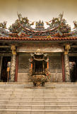 Chinese incense burner and temple Royalty Free Stock Image