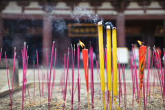 Chinese incense sticks outdoors in the temple Royalty Free Stock Photos