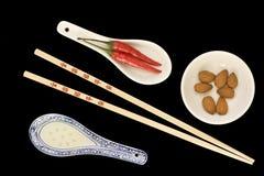 Chinese ingrediënten en werktuigen Stock Foto