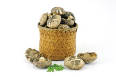 Chinese ingredient, dried mushroom in basket Stock Image