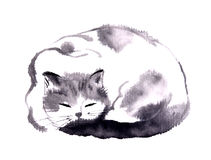 Chinese ink hand painting of cat Royalty Free Stock Images