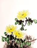 Chinese ink mum drawing Royalty Free Stock Image