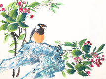 Chinese ink painting bird and plant Stock Photography