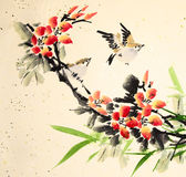 Chinese ink painting bird and plant Stock Photo