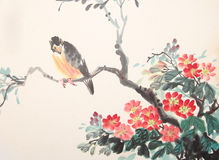 Chinese ink painting bird and plant Stock Photos