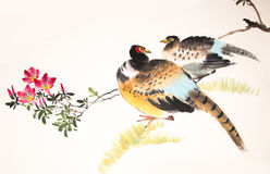 Chinese ink painting bird and plant Royalty Free Stock Image