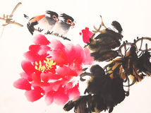Chinese ink painting bird and plant Stock Images