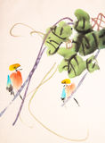 Chinese ink painting bird and plant Royalty Free Stock Photography