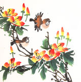 Chinese ink painting bird and plant Stock Image