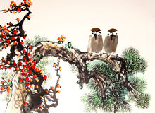 Chinese ink painting bird and tree Stock Images