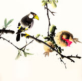 Chinese ink painting bird and tree. N hand drawn on paper Stock Image
