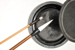 Chinese inkstone and  brushs Stock Image