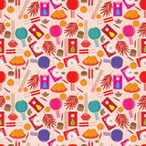 Chinese Items Seamless Pattern_eps. Illustration of Chinese items seamless pattern on light pink background Royalty Free Stock Image