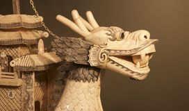 Chinese Ivory Dragon Head art piece on display in a Museum Royalty Free Stock Image