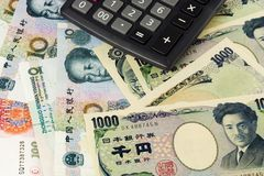 Chinese and Japanese currency pair Stock Photos