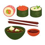 Chinese and Japanese delicious exotic food illustrations set. Chinese and Japanese delicious exotic food isolated vector illustrations set. Sushi in seaweed with Stock Image