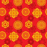 Chinese and japanese elements vector seamless pattern. Tribal asian wallpaper print. Background with chinese and japanese ornament illustration Stock Images