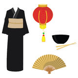 Chinese, japanese set. With black kimono, golden folding fan, rise bowl with chopsticks and latern light Stock Photo