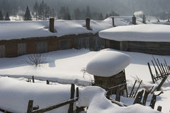 Chinese jilin characteristic farmhouse snow scape Stock Images