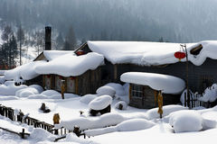 Chinese jilin characteristic farmhouse snow scape Royalty Free Stock Images