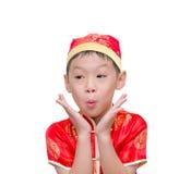 Chinese jongen in traditioneel kostuum Royalty-vrije Stock Foto's