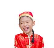Chinese jongen in traditioneel kostuum Het Chinese Concept van het Nieuwjaar stock afbeeldingen